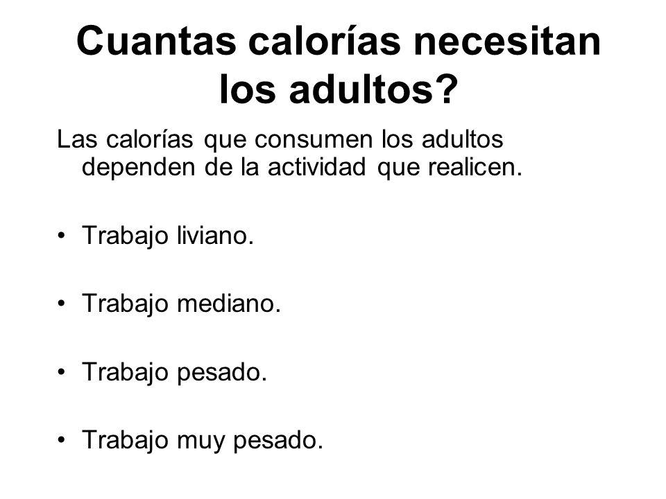 Cuantas calorías necesitan los adultos