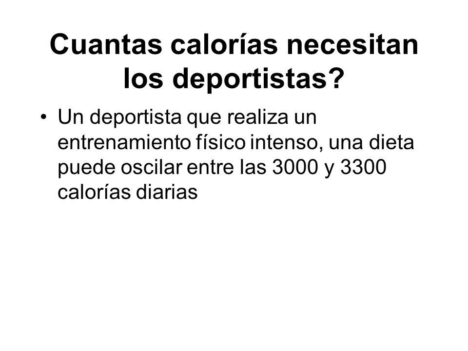 Cuantas calorías necesitan los deportistas