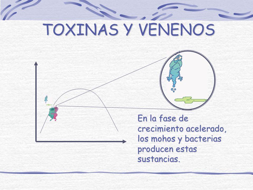 TOXINAS Y VENENOS En la fase de crecimiento acelerado, los mohos y bacterias producen estas sustancias.