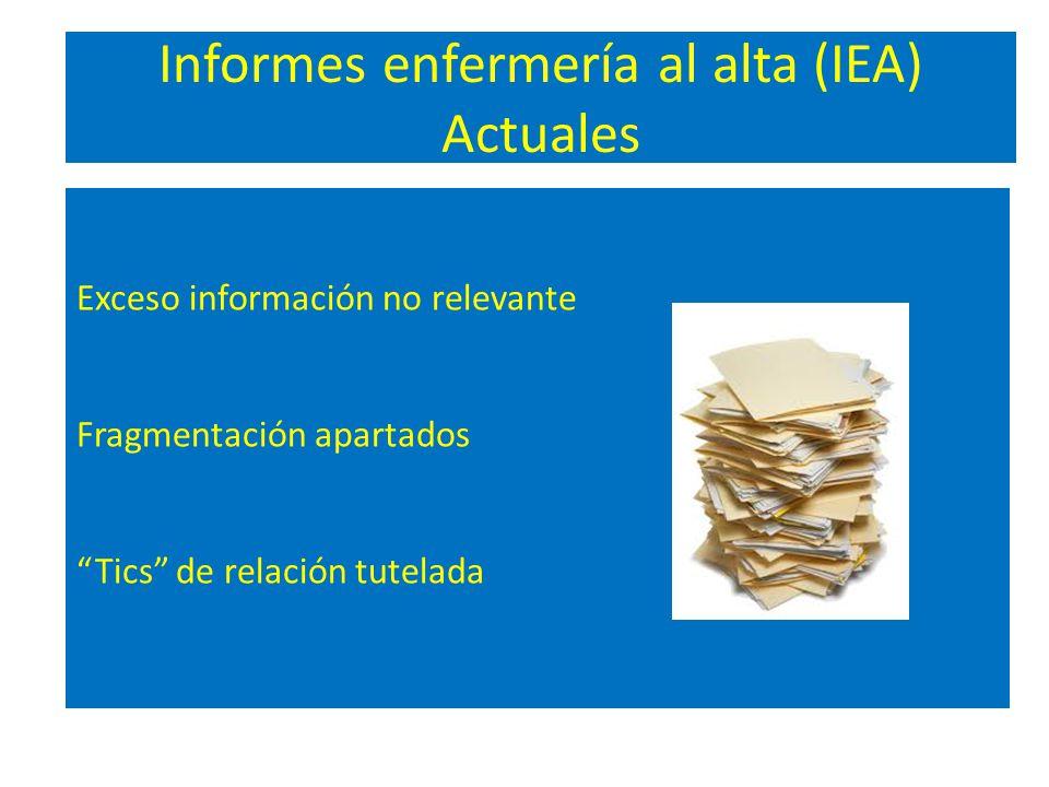 Informes enfermería al alta (IEA) Actuales