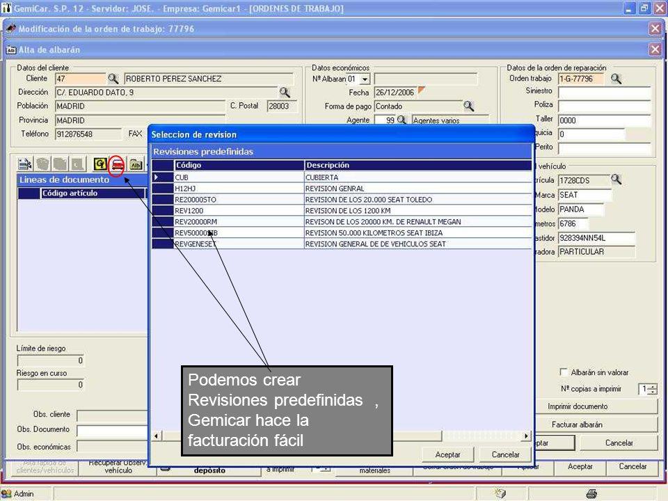 Podemos crear Revisiones predefinidas , Gemicar hace la facturación fácil
