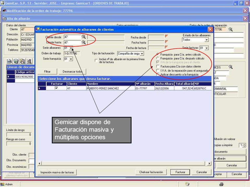 Gemicar dispone de Facturación masiva y múltiples opciones