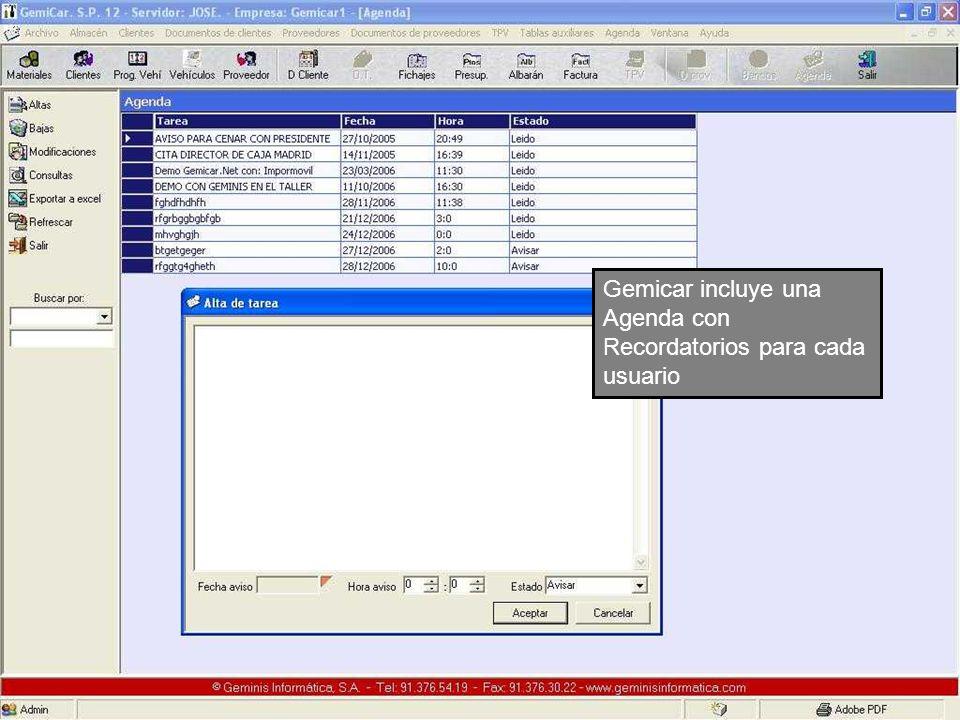 Gemicar incluye una Agenda con Recordatorios para cada usuario