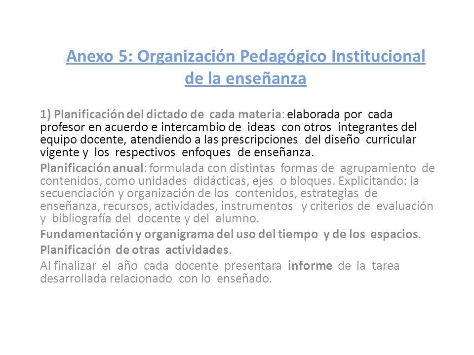 Anexo 5: Organización Pedagógico Institucional de la enseñanza