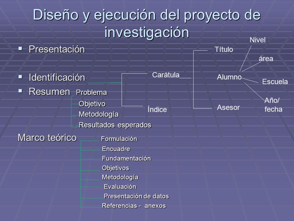 Diseño y ejecución del proyecto de investigación