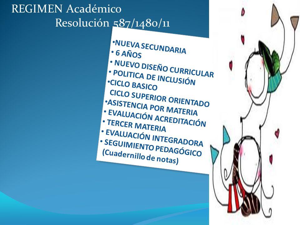 REGIMEN Académico Resolución 587/1480/11