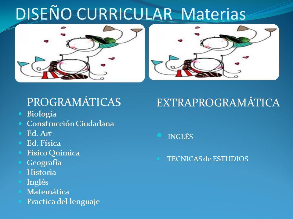 DISEÑO CURRICULAR Materias