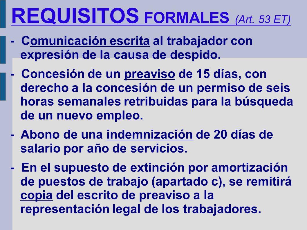REQUISITOS FORMALES (Art. 53 ET)