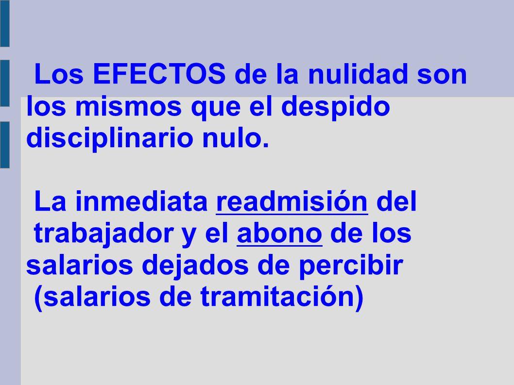 Los EFECTOS de la nulidad son los mismos que el despido disciplinario nulo.