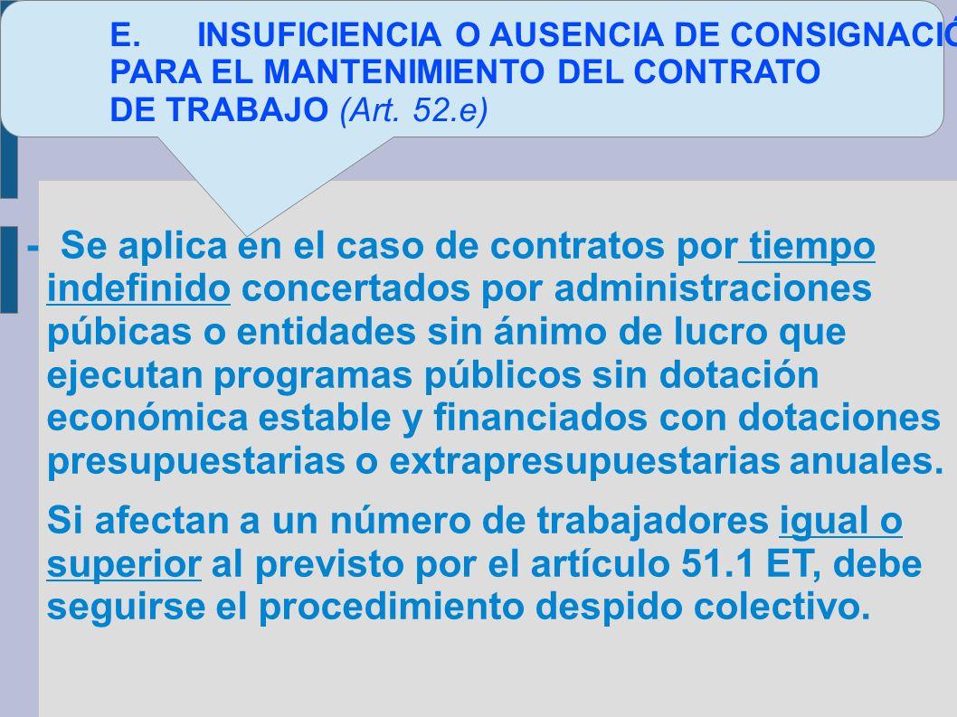 E. INSUFICIENCIA O AUSENCIA DE CONSIGNACIÓN