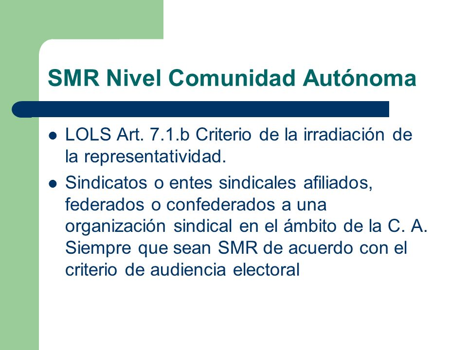 SMR Nivel Comunidad Autónoma
