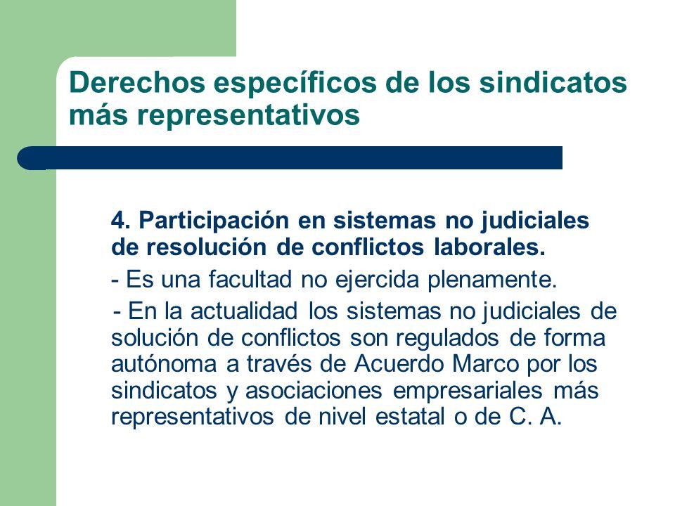 Derechos específicos de los sindicatos más representativos