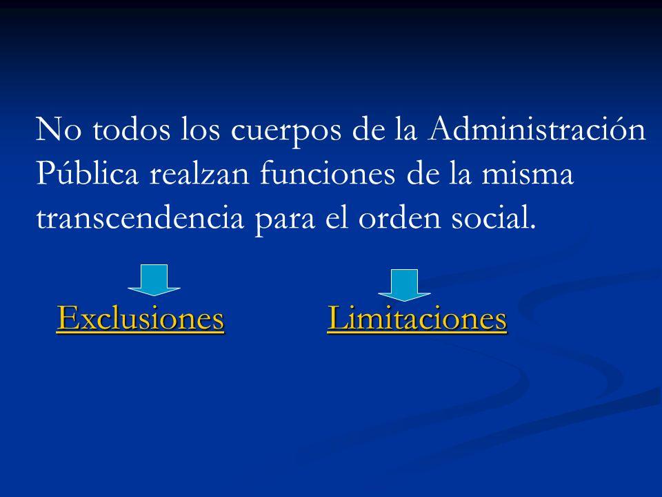 No todos los cuerpos de la Administración Pública realzan funciones de la misma transcendencia para el orden social.