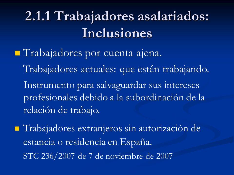 2.1.1 Trabajadores asalariados: Inclusiones