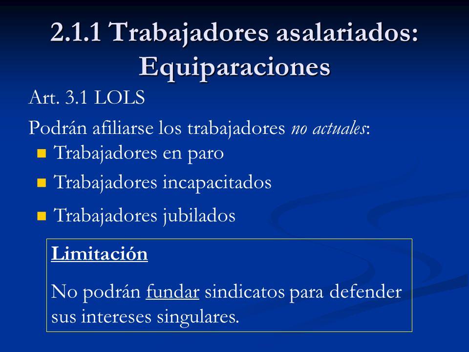 2.1.1 Trabajadores asalariados: Equiparaciones