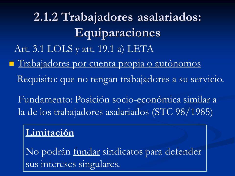 2.1.2 Trabajadores asalariados: Equiparaciones