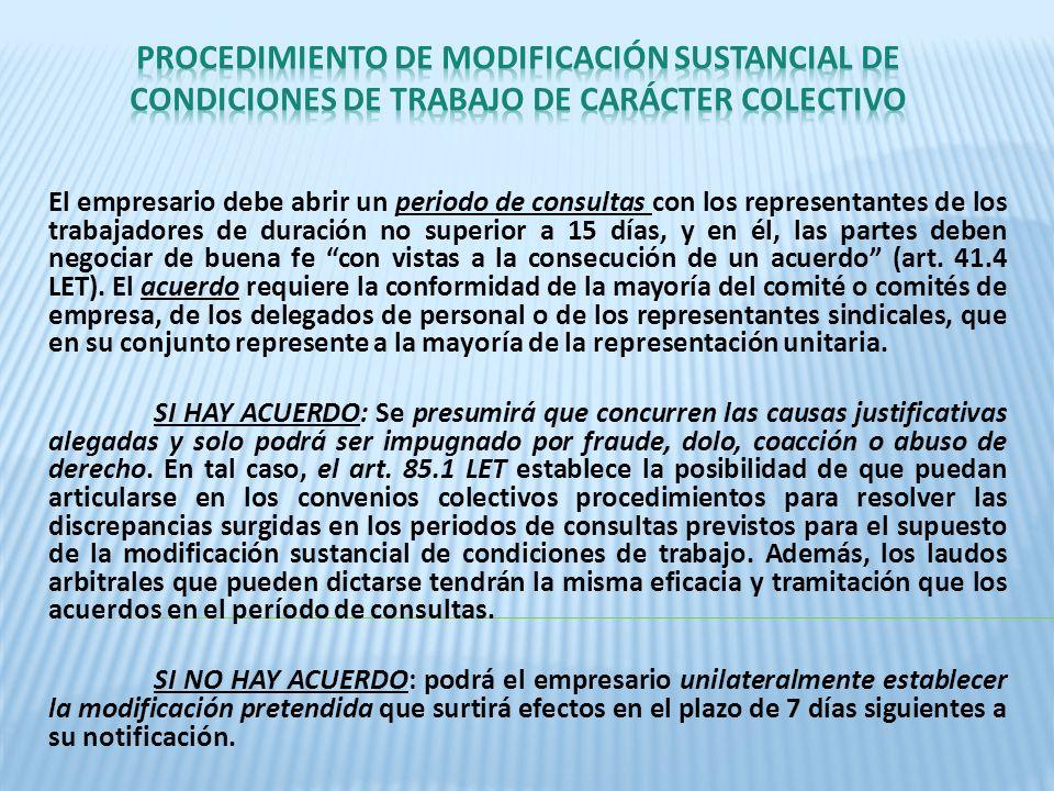 PROCEDIMIENTO DE MODIFICACIÓN SUSTANCIAL DE CONDICIONES DE TRABAJO DE CARÁCTER COLECTIVO