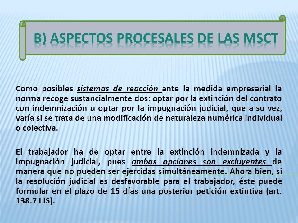 B) ASPECTOS PROCESALES DE LAS MSCT