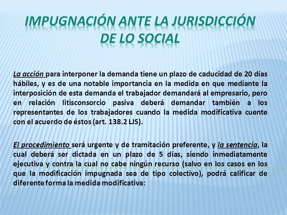 IMPUGNACIÓN ANTE LA JURISDICCIÓN DE LO SOCIAL