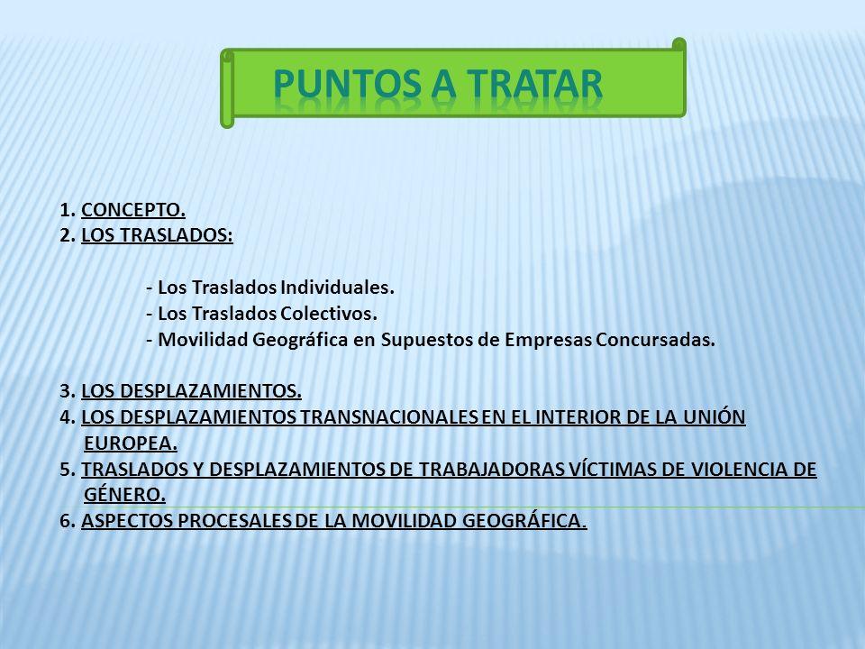 PUNTOS A TRATAR 1. CONCEPTO. 2. LOS TRASLADOS: