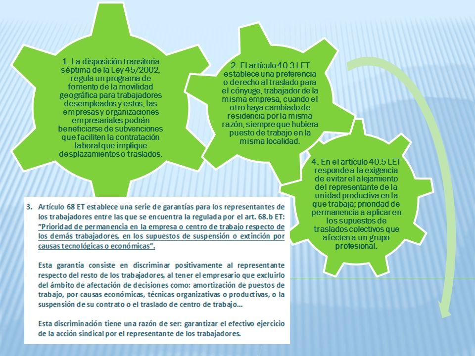 4. En el artículo 40.5 LET responde a la exigencia de evitar el alejamiento del representante de la unidad productiva en la que trabaja; prioridad de permanencia a aplicar en los supuestos de traslados colectivos que afecten a un grupo profesional.