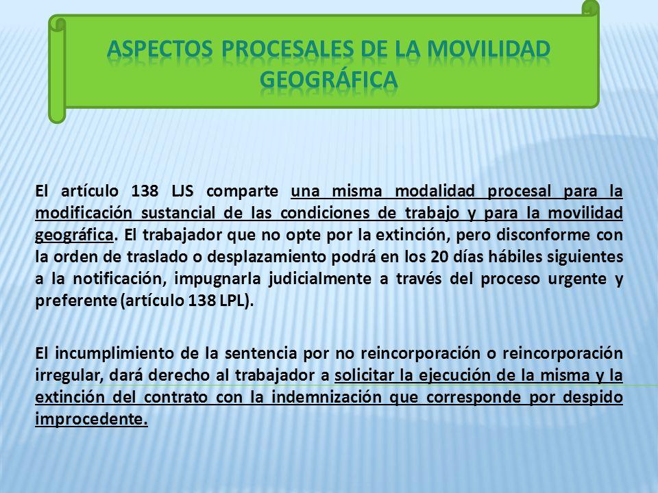 ASPECTOS PROCESALES DE LA MOVILIDAD GEOGRÁFICA
