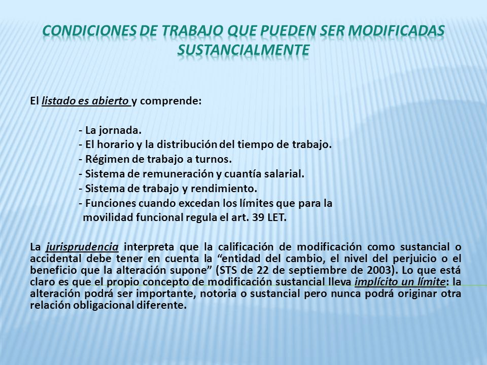 CONDICIONES DE TRABAJO QUE PUEDEN SER MODIFICADAS SUSTANCIALMENTE