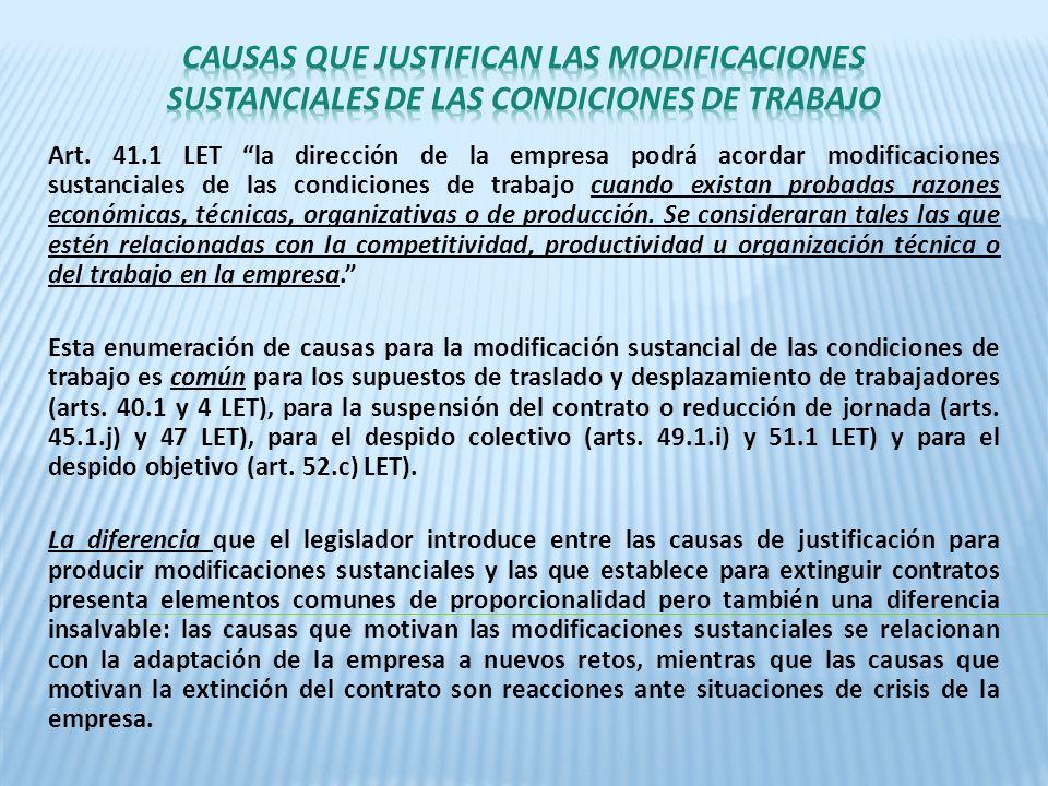 CAUSAS QUE JUSTIFICAN LAS MODIFICACIONES SUSTANCIALES DE LAS CONDICIONES DE TRABAJO