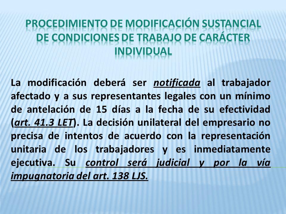 PROCEDIMIENTO DE MODIFICACIÓN SUSTANCIAL DE CONDICIONES DE TRABAJO DE CARÁCTER INDIVIDUAL