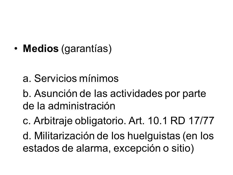 Medios (garantías) a. Servicios mínimos. b. Asunción de las actividades por parte de la administración.