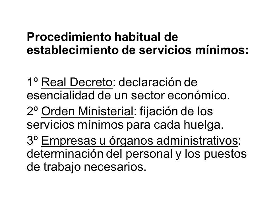 Procedimiento habitual de establecimiento de servicios mínimos: