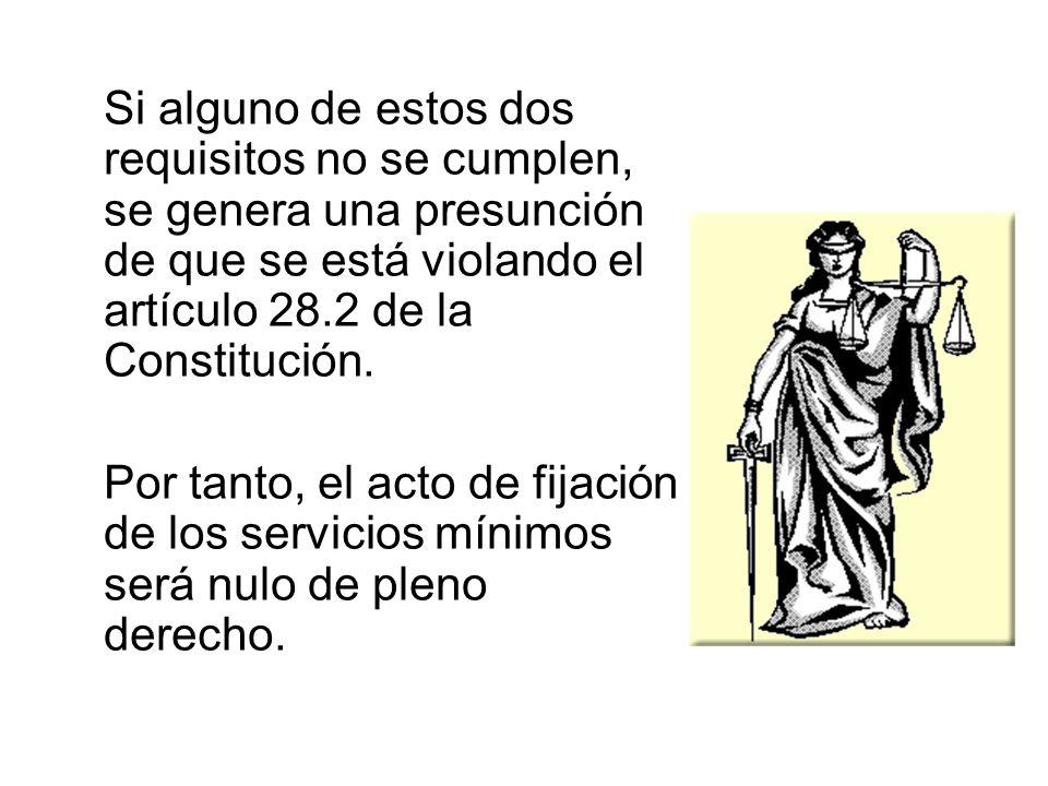 Si alguno de estos dos requisitos no se cumplen, se genera una presunción de que se está violando el artículo 28.2 de la Constitución.