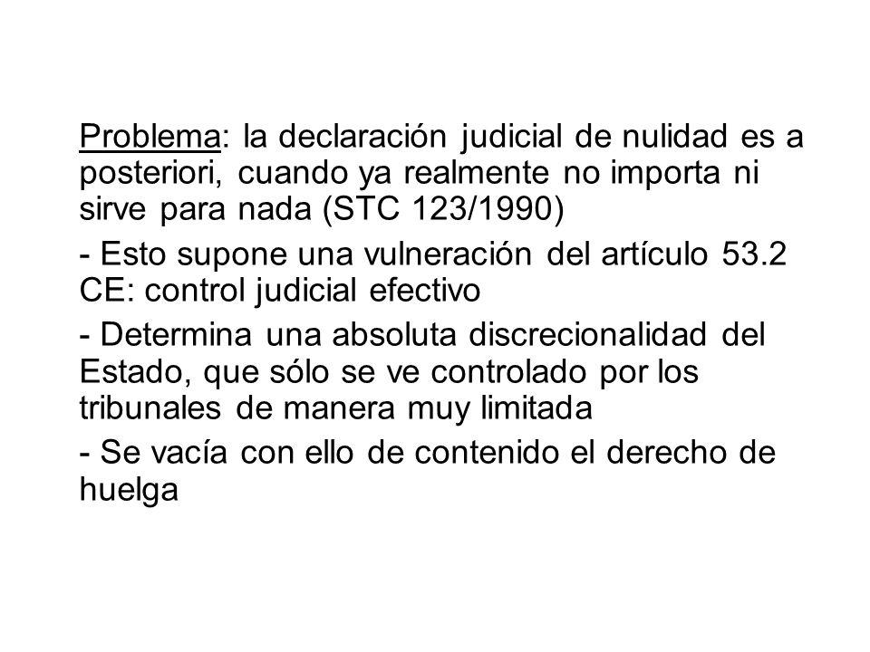 Problema: la declaración judicial de nulidad es a posteriori, cuando ya realmente no importa ni sirve para nada (STC 123/1990)