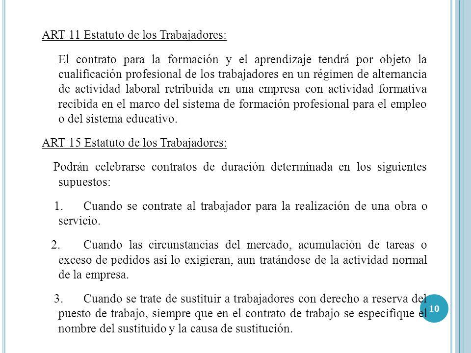 ART 11 Estatuto de los Trabajadores: