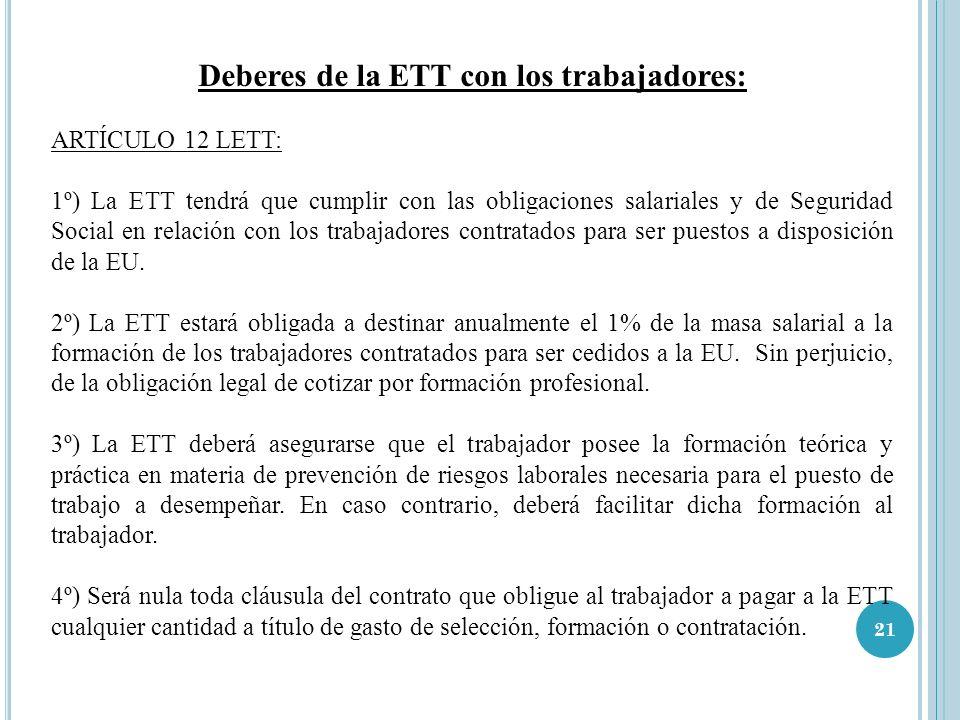 Deberes de la ETT con los trabajadores: