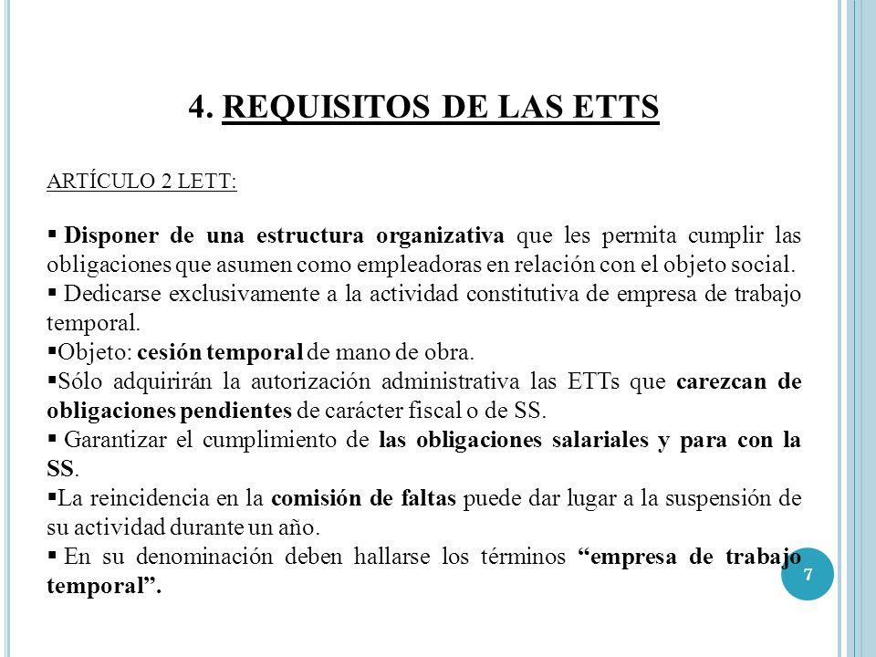 4. REQUISITOS DE LAS ETTSARTÍCULO 2 LETT: