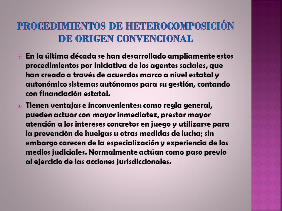 Procedimientos de heterocomposición de origen convencional