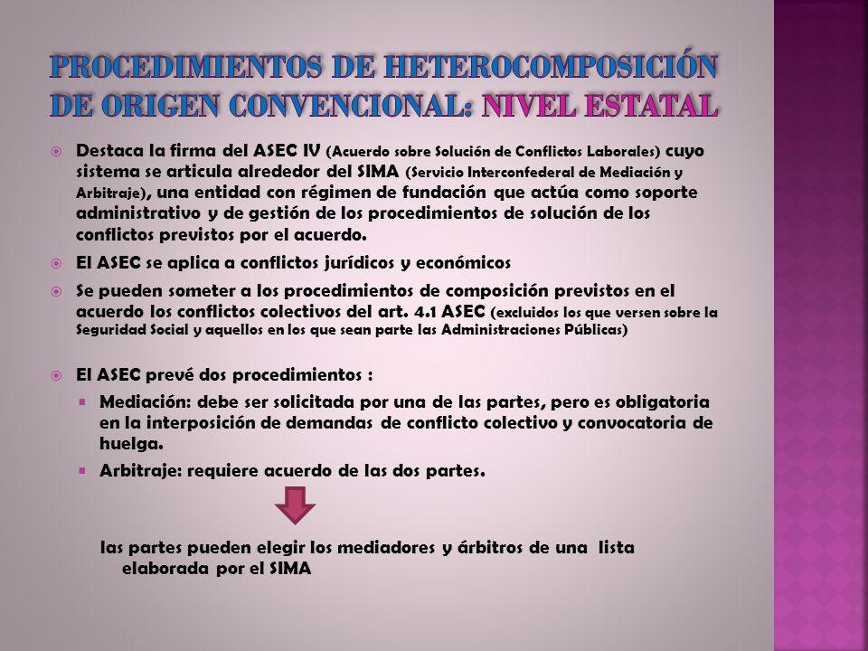 Procedimientos de heterocomposición de origen convencional: nivel estatal