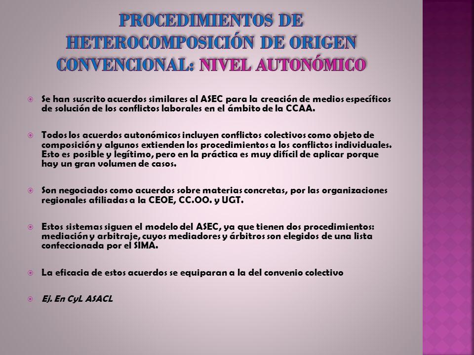 Procedimientos de heterocomposición de origen convencional: nivel autonómico