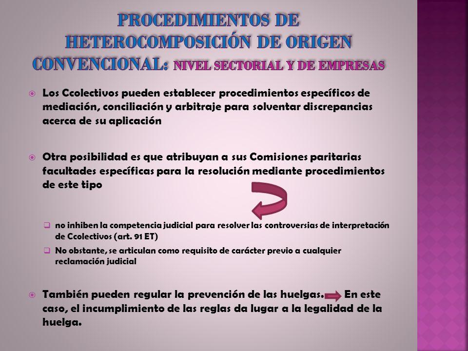 Procedimientos de heterocomposición de origen convencional: nivel sectorial y de empresas