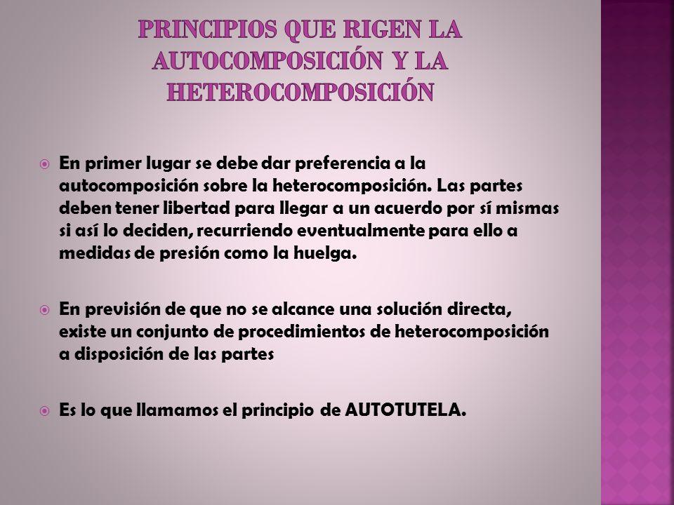 Principios que rigen la autocomposición y la heterocomposición