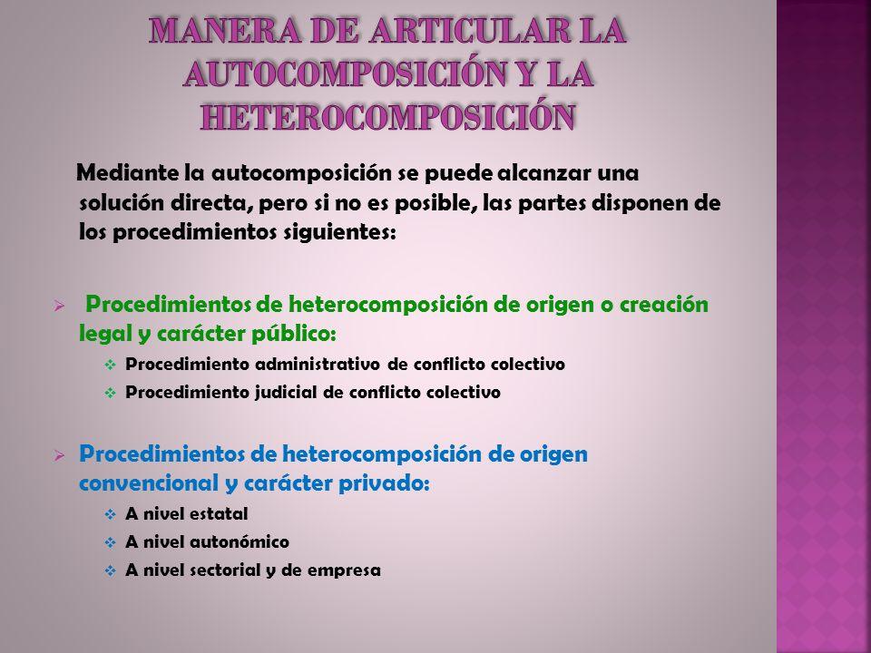 MANERA DE ARTICULAR LA AUTOCOMPOSICIÓN Y LA HETEROCOMPOSICIÓN