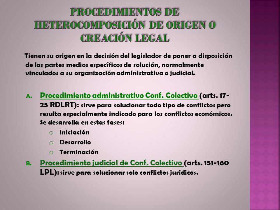 Procedimientos de heterocomposición de origen o creación legal