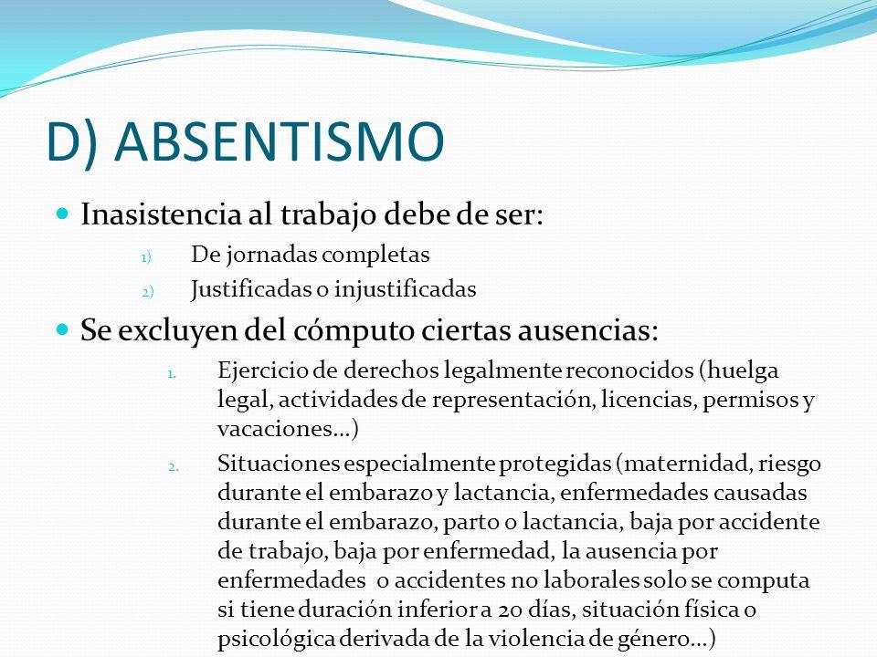 D) ABSENTISMO Inasistencia al trabajo debe de ser: