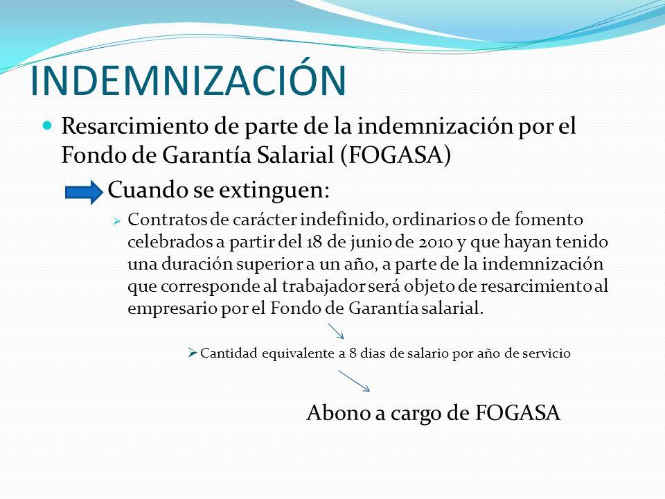 INDEMNIZACIÓNResarcimiento de parte de la indemnización por el Fondo de Garantía Salarial (FOGASA) Cuando se extinguen: