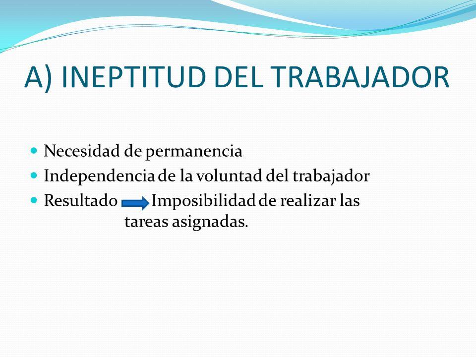 A) INEPTITUD DEL TRABAJADOR