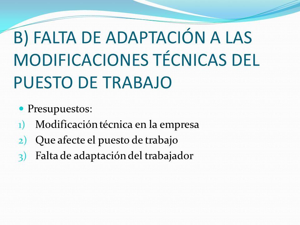 B) FALTA DE ADAPTACIÓN A LAS MODIFICACIONES TÉCNICAS DEL PUESTO DE TRABAJO