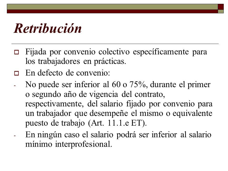 RetribuciónFijada por convenio colectivo específicamente para los trabajadores en prácticas. En defecto de convenio: