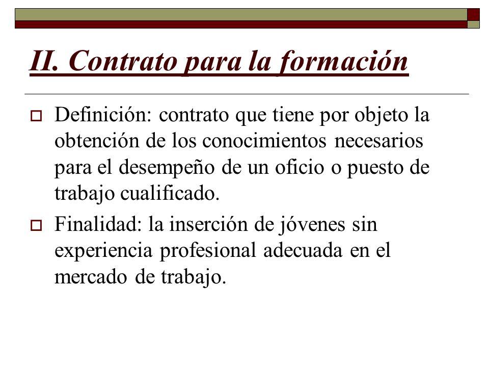 II. Contrato para la formación
