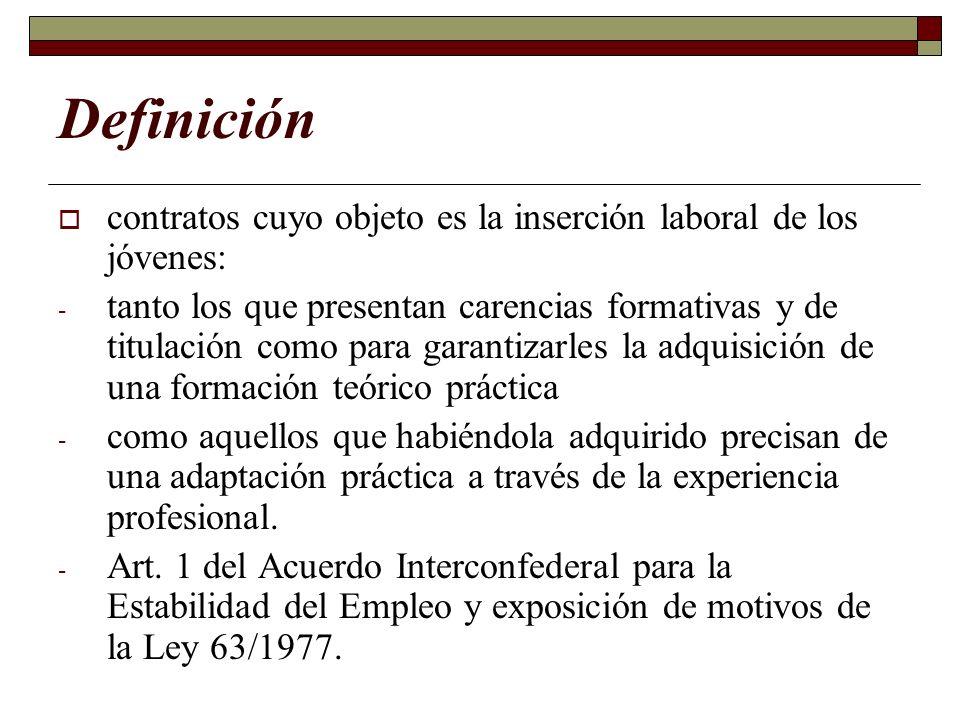 Definición contratos cuyo objeto es la inserción laboral de los jóvenes: